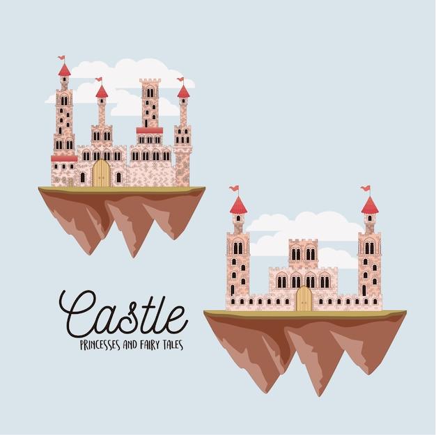 Cartaz de princesas de castelo e contos de fadas