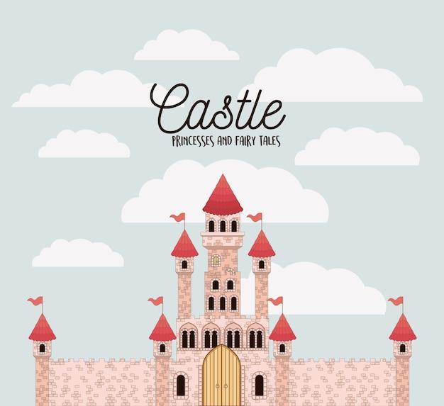 Cartaz de princesas de castelo rosa e contos de fadas com castelo