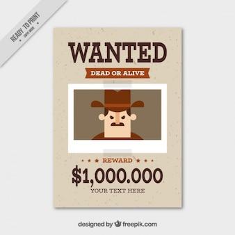 Cartaz de procurado com a recompensa penal e grande plano