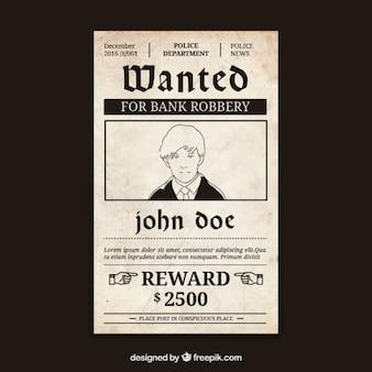 Cartaz de procurado com a recompensa penal e grande