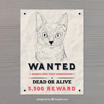 Cartaz de procurado com gato