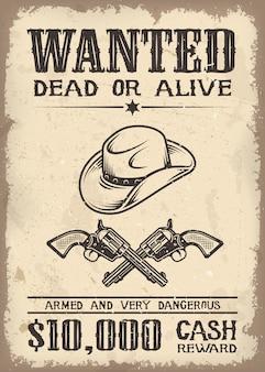 Cartaz de procurado oeste selvagem de vitage com textura de papel antigo