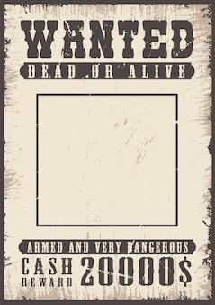 Cartaz de procurado vintage