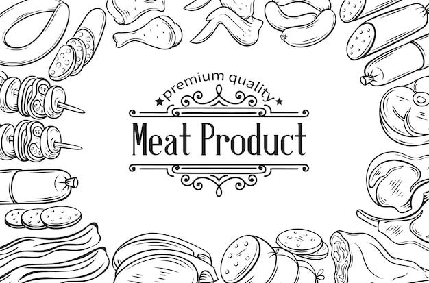 Cartaz de produto de carne desenhado de mão