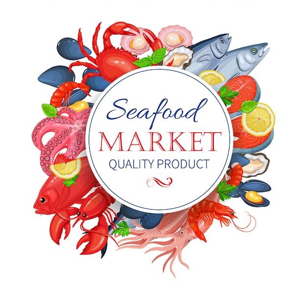 Cartaz de produto de frutos do mar