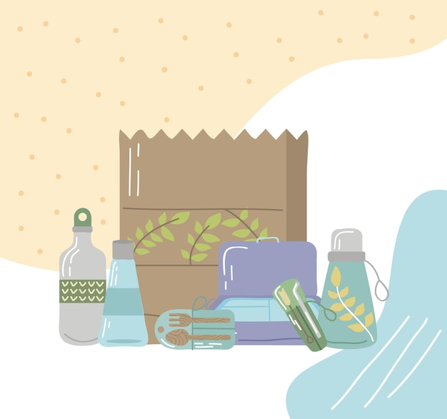 Cartaz de produtos reutilizáveis