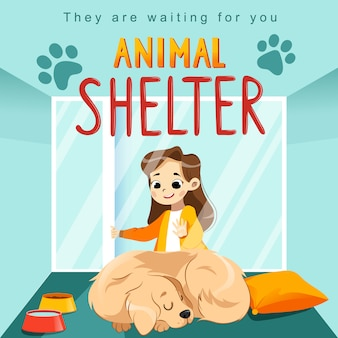 Cartaz de projeto de abrigo de animais com criança, cachorro e decorações.
