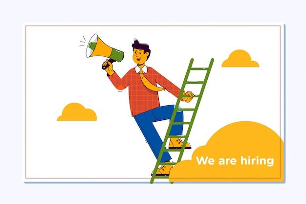 Cartaz de projeto de recrutamento de contratação. mão segurando o megafone