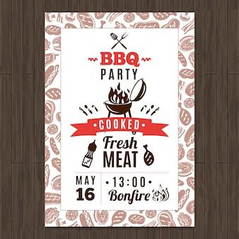 Cartaz de promo de festa de churrasco com elementos frescos de carne grelhada