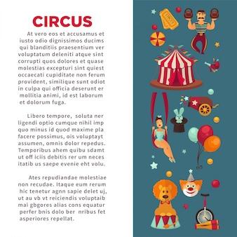 Cartaz de promo incrível circo com participantes do show e equipamentos.