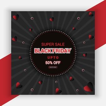 Cartaz de promoção 50 da black friday com promoção de oferta em vermelho e preto estilo premium vector