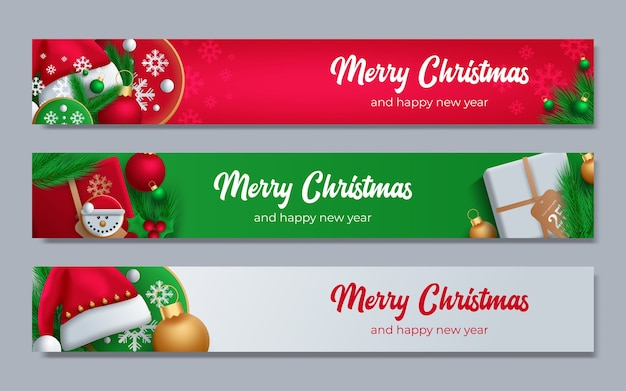 Cartaz de promoção com bolas de natal, chapéu de papai noel, caixas de presente, confetes e lugar para texto.