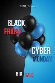 Cartaz de promoção da black friday e cyber monday