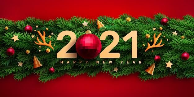 Cartaz de promoção de ano novo de 2021 Vetor Premium