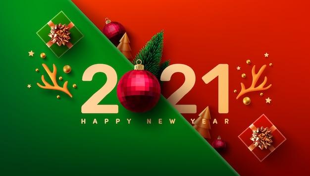Cartaz de promoção de ano novo ou banner com caixa de presente