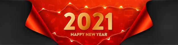 Cartaz de promoção de ano novo ou banner com luzes led para varejo