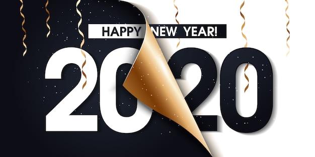 Cartaz de promoção de feliz ano novo de 2020 ou banner com papel de embrulho de presente aberto