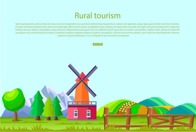 Cartaz de promoção de turismo rural com grande moinho