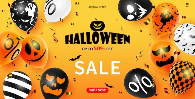 Cartaz de promoção de venda de halloween com balões de halloween. morcego com confete.