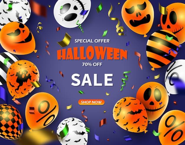 Cartaz de promoção de venda de halloween com doces de halloween e balões de fantasma de halloween. ótimo para voucher, oferta, cupom, venda de férias.