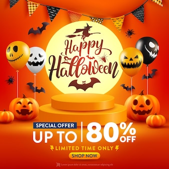 Cartaz de promoção de venda de halloween ou banner com abóbora de halloween e balões fantasmas