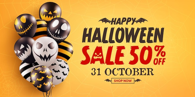 Cartaz de promoção de venda de halloween ou banner com balões fantasmas de halloween em fundo laranja
