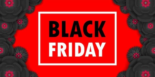 Cartaz de promoção de venda de sexta-feira negra ou banner de flores de papel preto, promoção de evento de grande venda e modelo de compra isolado em fundo vermelho estilo de corte