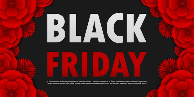 Cartaz de promoção de venda de sexta-feira negra ou banner de flores de papel vermelho, promoção de evento de grande venda e modelo de compra isolado em estilo de corte de papel de fundo preto