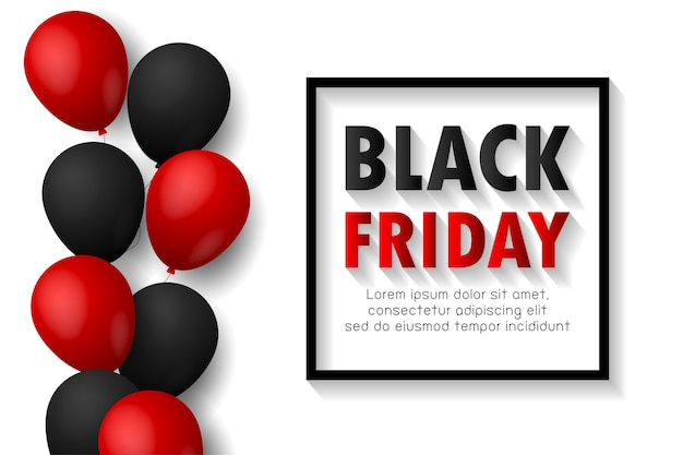 Cartaz de promoção de venda de sexta-feira negra ou fundo de banner com balões brilhantes em fundo preto, promoção de evento de grande venda e modelo de compra isolado