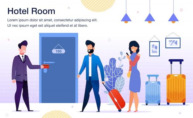 Cartaz de promoção plana de serviços de hotel moderno