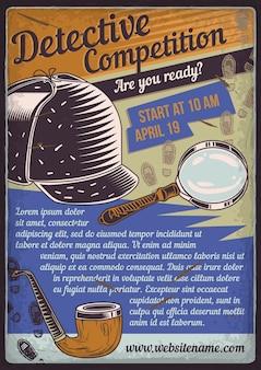 Cartaz de propaganda com ilustração de chapéu de detetive, lupa e um cachimbo