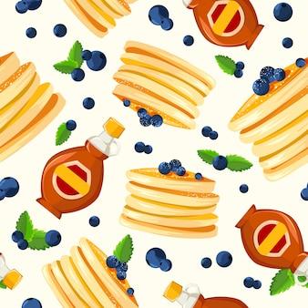 Cartaz de propaganda de estilo vintage de café-da-manhã do restaurante com panquecas de frigideira ser