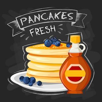 Cartaz de propaganda de estilo vintage de pequeno-almoço do restaurante com panquecas de frigideira