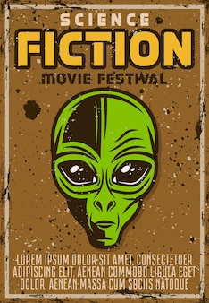 Cartaz de propaganda do festival de filme de ficção científica em estilo vintage com ilustração de cabeça de alienígena