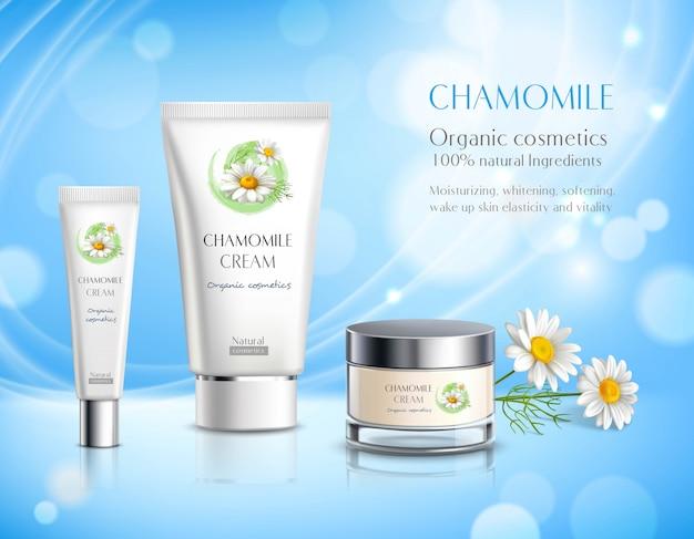 Cartaz de propaganda realista de produtos de cosméticos