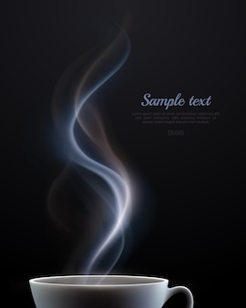 Cartaz de publicidade com copo fumegante de cerâmica branca de bebida quente e lugar para texto em fundo preto realista