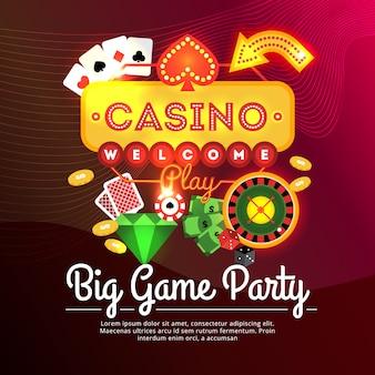 Cartaz de publicidade de cassino de festa de grande jogo
