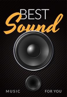 Cartaz de publicidade realista alto-falante com melhor ilustração sonora de inscrição amarelo branco