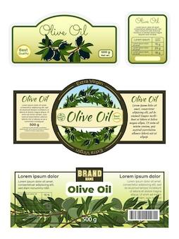 Cartaz de publicidade, rótulo de azeite de oliva, adesivos de alimentos com manteiga virgem