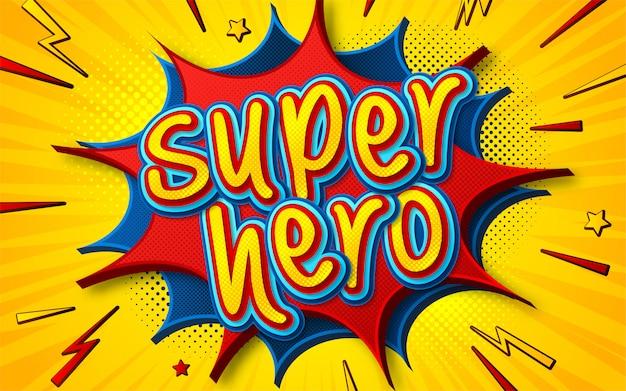 Cartaz de quadrinhos de super-herói no estilo pop art