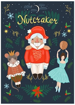 Cartaz de quebra-nozes com quebra-nozes, bailarina, mouse e elementos decorativos. gráficos.