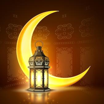 Cartaz de ramadan kareem, ilustração 3d realista de lanterna de lâmpada de celebração