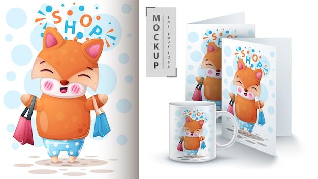 Cartaz de raposa bonito e merchandising.