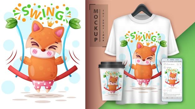 Cartaz de raposa swing e merchandising