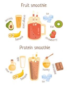 Cartaz de receita infográfico de smoothies de frutas e proteínas