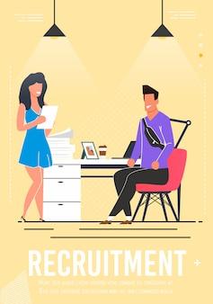 Cartaz de recrutamento com o candidato a entrevista