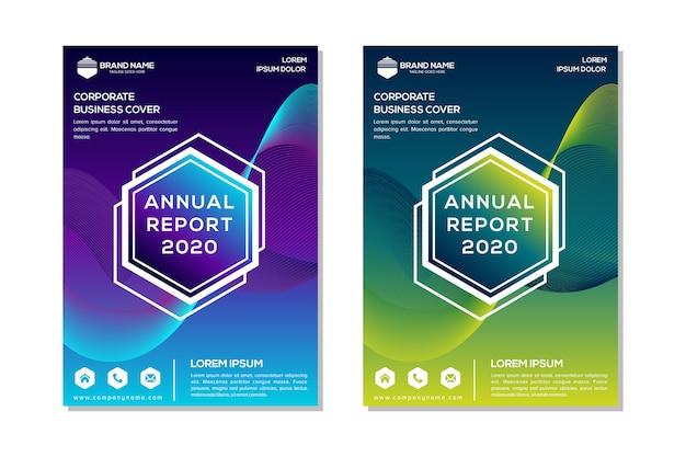 Cartaz de relatório anual de hexágono abstrato colorido gradiente