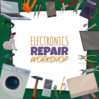 Cartaz de reparo de eletrônicos coloridos com título de oficina de reparo eletrônico e ferramentas diferentes