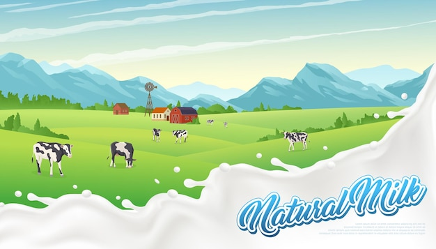 Cartaz de respingo de leite de paisagem rural com gotas de leite líquido e cenário ao ar livre com vacas