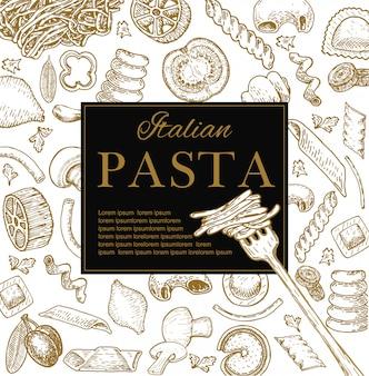 Cartaz de restaurante de massa italiana desenhada de mão.